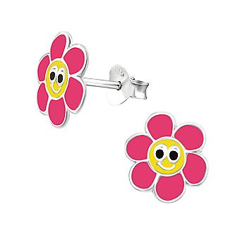 Flower - 925 Sterling Silver Colourful Ear Studs - W24528X