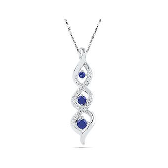 Lab Created Blue Sapphire 1/4 Carat (ctw) Infinity Pendant Necklace in 10K White Gold with Diamonds 1/12 (ctw)
