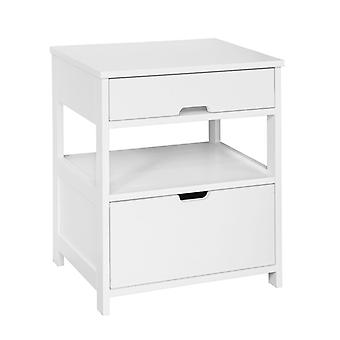 SoBuy Home Wood Beside End Table con 2 cassetti,Bianco,FRG258-W