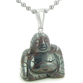Good Luck Charm Happy Sitting Buddha Amulet Tiger IrGemstone Protection Powers Pendant Necklace