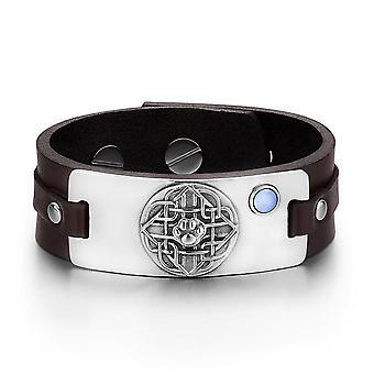 Wolf patte bouclier celtique noeud amulette magique bleu simulé chats oeil réglable en cuir marron Bracelet