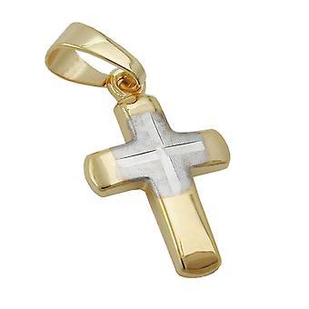 delicata piccola croce pendente oro 375 pendente, Croce bicolor, oro 9 KT