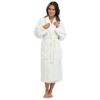 Senhoras Supersoft Algodão Quente Wrap Over & Shawl Collar Dressing Gown Nightwear Bathrobe