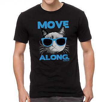 Grumpy Cat Verplaats langs mannen zwart grappig T-shirt
