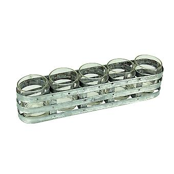 Farmhouse Style 5 Glass Jar Candleholder in Galvanized Metal Tray