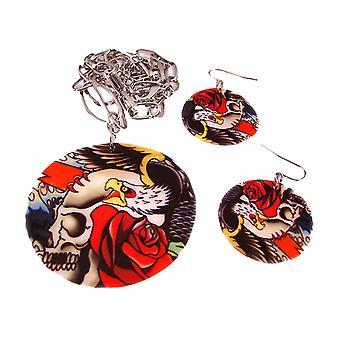 Tattoo Skull & rozen schelp ketting & oorbellen Set