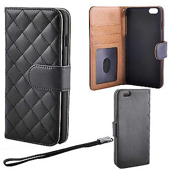Quilted luxury Wallet Case for iPhone 6 PLUS/6s PLUS, Black