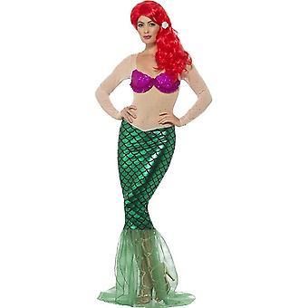 Deluxe Sexy Mermaid Costume, Green, with Sequin Full Length Dress & Hair Clip