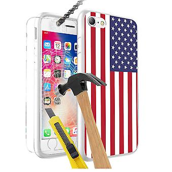 For Google Pixel - United States of America Flag Design Printed White Case Skin Cover with Tempered Glass - 0188 by i-Tronixs