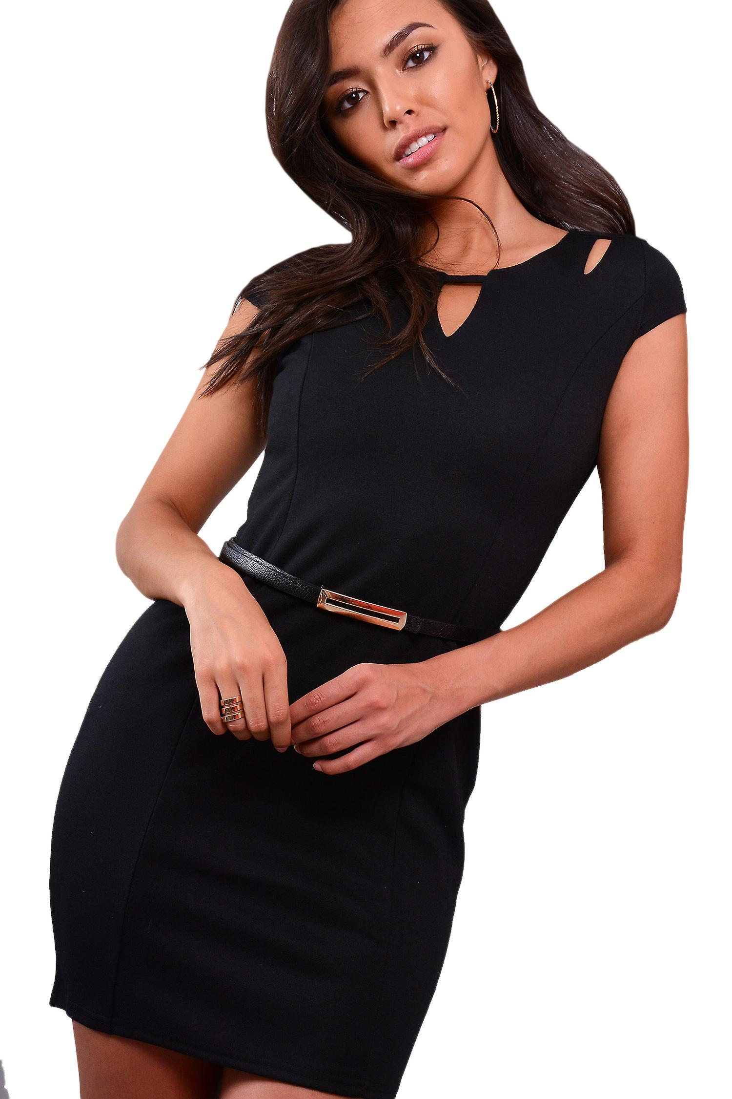 Lovemystyle Black Fitted Pencil Dress With Cutout and Belt