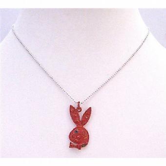 Röd kanin med gnistrande röda kristaller blåtira söt röd kanin
