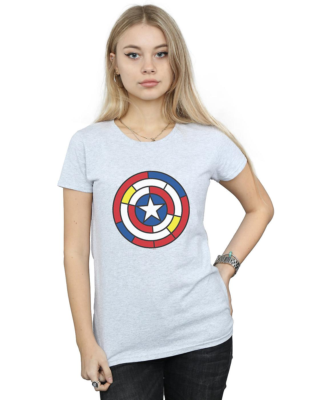 Marvel Women's Captain America Stained Glass Shield T-Shirt