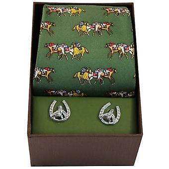 David Van Hagen Horse Racing Tie and Cufflink Set - Green