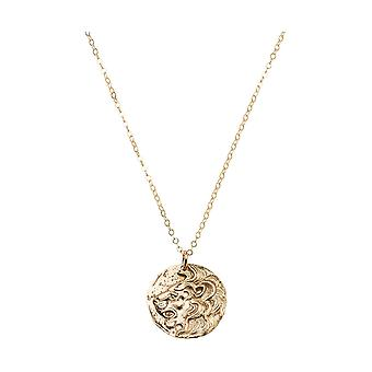 Gemshine necklace coins LÖWE in silver, gold plated, rose - 2 cm - antique