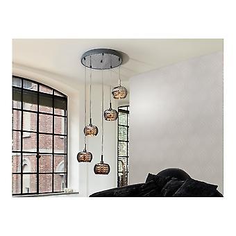 Schuller Modern Shimmered Crystal Dome Cluster Ceiling 5 Light Pendant