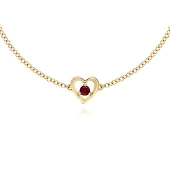 Classic Single Stone Round Ruby Love Heart Bracelet in 9ct Yellow Gold 135L0290019