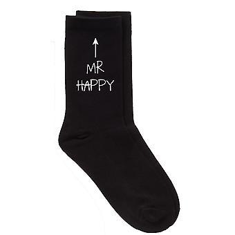 Mens Mr lykkelig svart kalv sokker