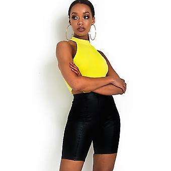 IKRUSH Womens Rhea High Waist Wet look Cycle Shorts