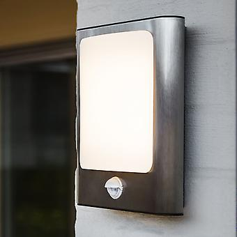 Lutec Face 13W PIR Exterior LED Wall Light In Stainless Steel