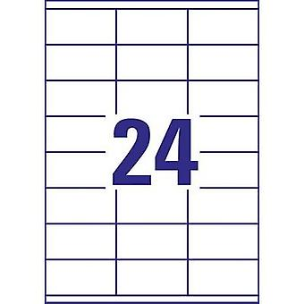 Avery-Zweckform 3422 التسميات 70 × 35 ملم ورقة بيضاء 2400 PC (ق) دائمة لجميع الأغراض تسميات نافثة للحبر، ليزر، ناسخ 100 ورقة A4