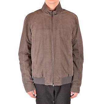 Herno Ezbc034033 Men's Grey Suede Outerwear Jacket