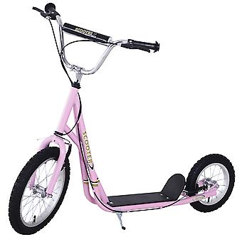 HOMCOM Adult Teen Push Scooter Kids Children Stunt Scooter Bike Bicycle Ride On Alloy Wheel Pneumatic Tyres (Pink)