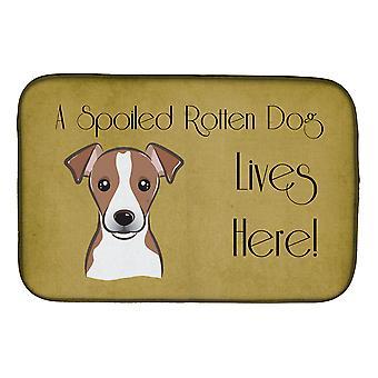 Nostaa väkivivulla Punaisenruskea terrieri pilaantunut koiran elämää täällä lautasen kuivaus Mat