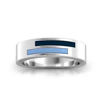 Bernard M. Baruch College Sterling Silver Asymmetric Enamel Ring In Blue and Sky Blue