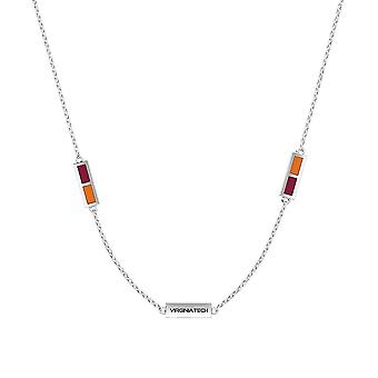 Virginia Tech - Virginia Tech Engraved Triple Station Necklace In Maroon And Dark Orange