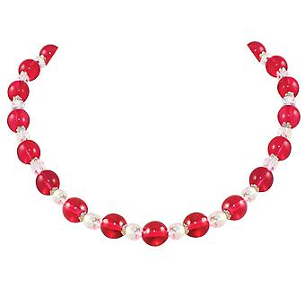 Eternal Collection Morning Dew Cranberry Czech Crystal Necklace