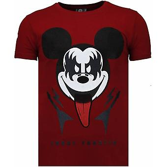 Kiss My Mickey - Rhinestone T-shirt - Bordeaux