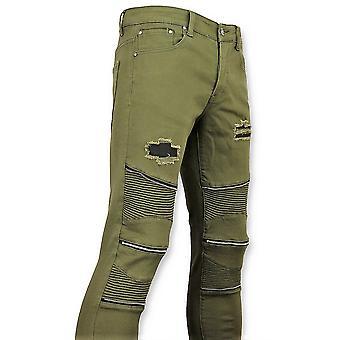 Groene Biker Skinny Jeans -  Broek- 3017-9