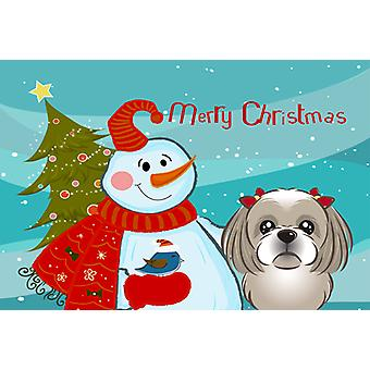 Snowman with Gray Silver Shih Tzu Fabric Placemat