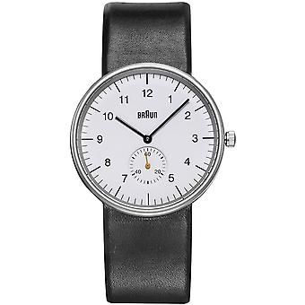 Braun classic gent small second japanese quartz analog man watch with BN0024WHBKG synthetic leather bracelet