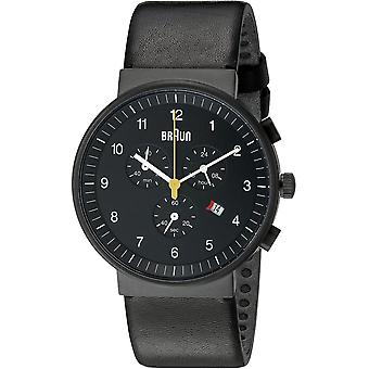 Braun classic gent Chronowatch for Japanese Quartz Analog Man with BN0035BKBKG Synthetic Leather Bracelet