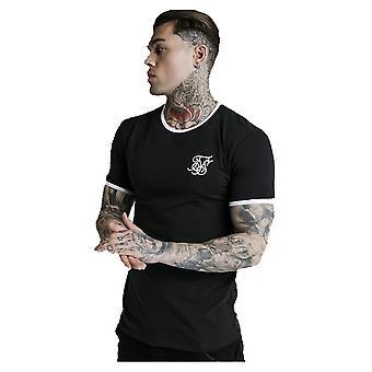 Sik Silk Black & White Straight Hem Ringer T-shirt