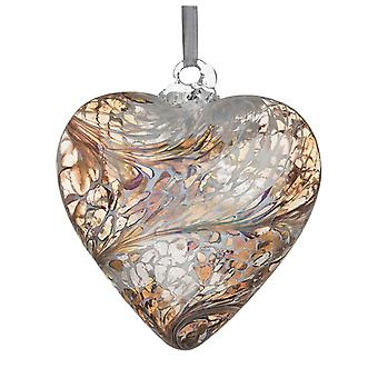 Sienna Glass 8cm Friendship Heart, Pastel Gold