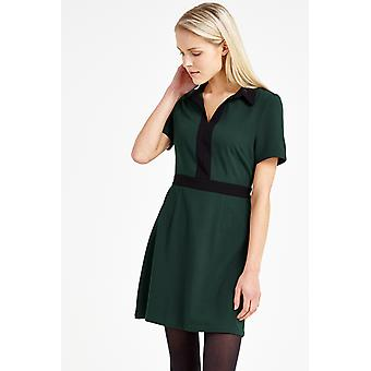 Louche Maeve Contrast Collar And Trim Dress Green