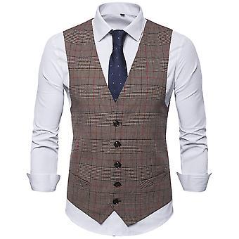 YANGFAN Men's V-neck Plaid Casual Vest