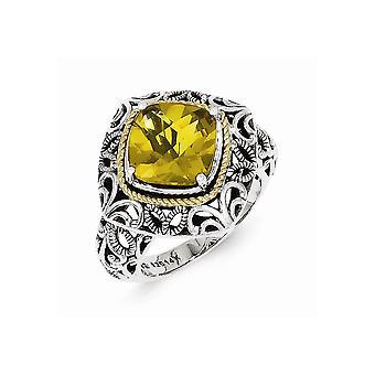 925 Sterling Silver Polerad Prong set finish med 14k Whiskey Quartz Ring Smycken Gåvor för kvinnor - Ring Storlek: 6 till 7