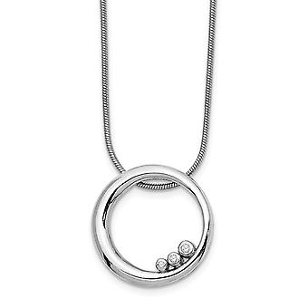 925 Sterling Silver Polished Gift Boxed Rhodium plated Lobster Claw Closure White Ice Diamond Necklace 18 Inch Jewelry G