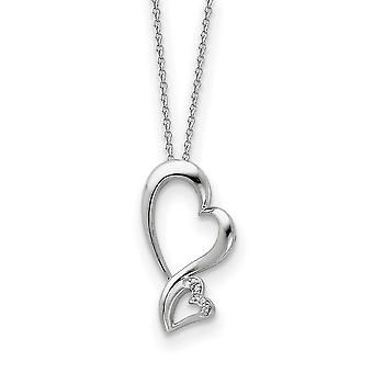 925 Sterling Silver polerad gåva Boxed Spring Ring Rhodium pläterad CZ Cubic Zirconia Simulerad Diamond Love Heart Neckla