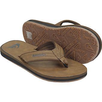 Quiksilver mens Carver nubuck Vegan casual flip flops-Tan Brown