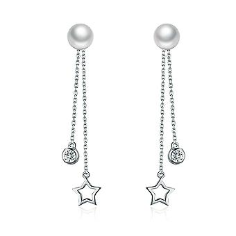 Earrings d'apos;Ears Pendante Woman Star adorned with White Swarovski Crystal, Pearl and Silver 925 8330