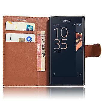 Xperia Z3 case wallet leeche case brown