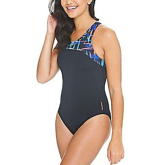 Zoggs naisten Predator zip takaisin uima-allas uimapuku puku-musta