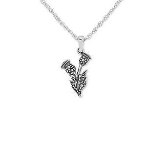 """Schottische Distel Blume von Schottland Halskette Anhänger - Marcasite Steine - enthält eine 18"""" Silber Kette"""