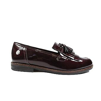Caprice 24200 Bordeaux Patent Leather Womens Slip On Loafer Shoes