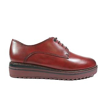 Tamaris 23202 Sangria Red Leather Womens Lace Up Shoes