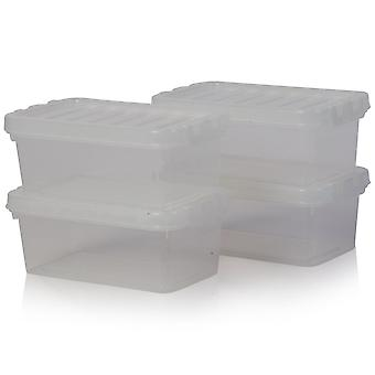 Wham Storage Set Of 4 - 1.1 Litre Crystal Plastic Storage Boxes With Lids